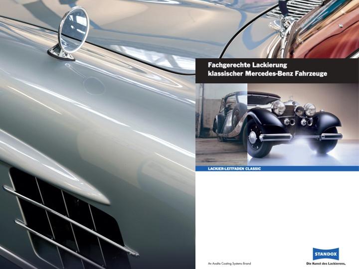 Der Mercedes Classic-Leitfaden beschreibt den Standard einer fachgerechten Oldtimer-Reparatur. Zu sehen ist das Cover der Broschüre.